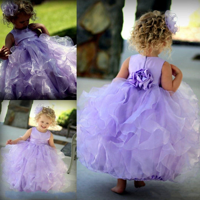 Cute Lavender Ball Gown Flower Girls Dresses For Weddings Puffy Organza Little Girl Pageant Birthday Party Dresses