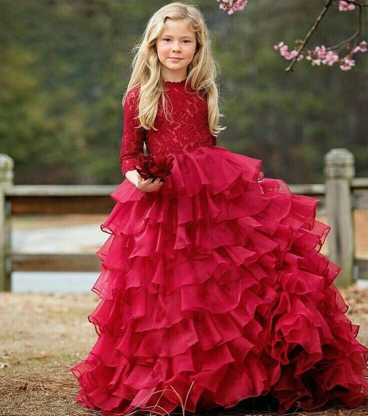 SexeMara Red Lace Long Sleeve Winter Girls Clothes Tiered Organza Flower Girl Dress for Wedding Party Kids Pageant Gown