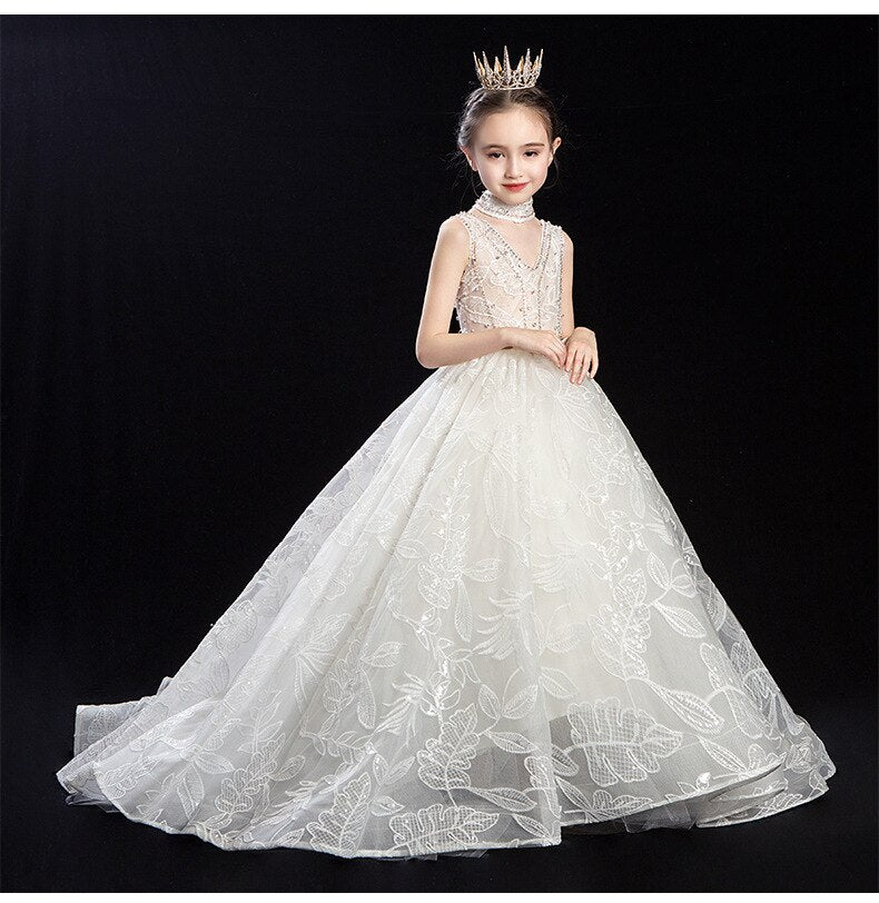 Top Sale Royal white Little Dresses for Evening Party Flower Girls Dresses for Wedding