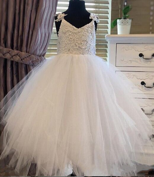 Ivory White Lace Tulle Flower Girls Dresses For Wedding Ball Gown Princess Girls Pageant Gowns First Communion Dress Custom Made