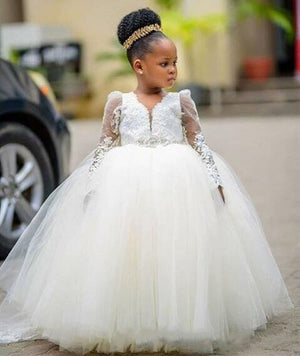 Ivory White Ball Gown Girls Clothes Long Sleeve Little Girl Pageant Dresses With Beads Flower Girl Dress For Wedding