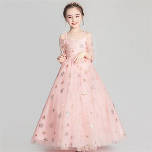 2019Spring Summer Elegant Pink Color Children Kids Sling Birthday Wedding Party Fluffy Long Dress Girls Evening Host Tutu Dress