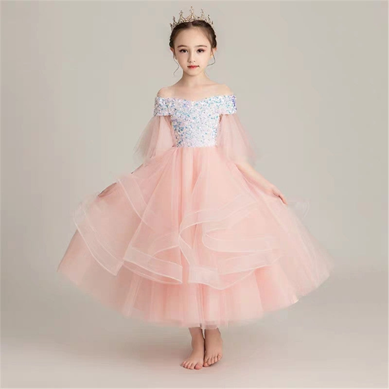 3~14Yrs Children Girls Luxury Shoulderless Pink Color Sequined Birthday Wedding Party Prom Dress Model shows Piano Host Dress