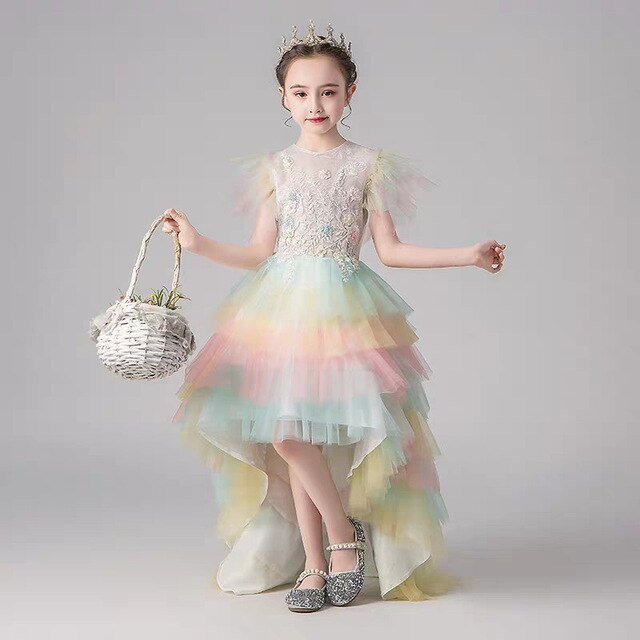 Children Girls Fashion Rainbow Color Luxury O-Neck Birthday Wedding Party Long Tail Dress Model Show Catwalk Layers Dress Wear