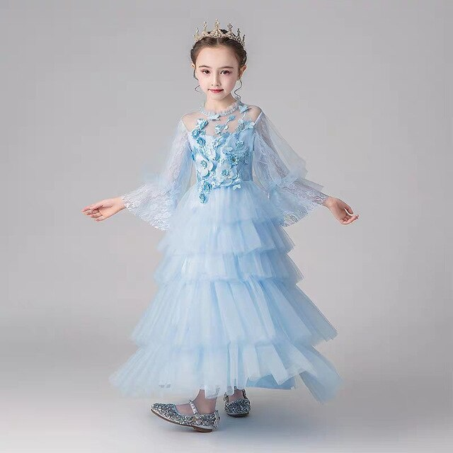 2019Autumn Spring Children Girls Luxury New Appliques Flowers Birthday Wedding Party Princess Fluffy Long Dress Model Show Dress