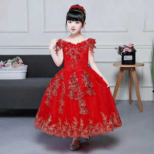 3-14Y Kids Girl Red Embroidered Formal Party Ball Gown Prom Princess Bridesmaid Wedding Children Tutu Dress Modis Vestidos Y1699