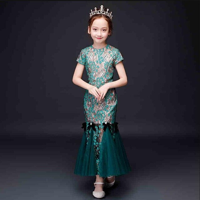 Children's Cheongsam Girls Dress 2019 Summer New Chinese Style Kids Mermaid Princess Gown Wedding Party Mesh Spliced Dress Y922