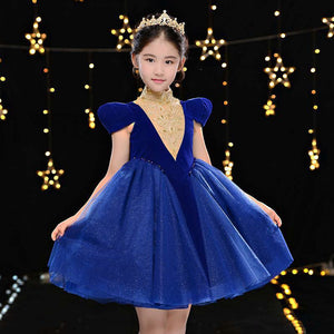 Royal Blue Embroidery Flower Girl Dresses for Wedding High Collar Vintage Kids Pageant Dress Retro Princess Birthday Dress