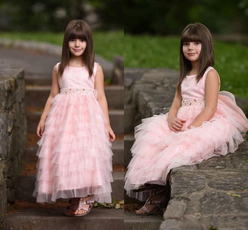 Cute Pink Wedding Flower Girls Dresses Tiered Fuffles Tulle Beaded Sashes Little Girl Lace Pageant Gown Custom Made