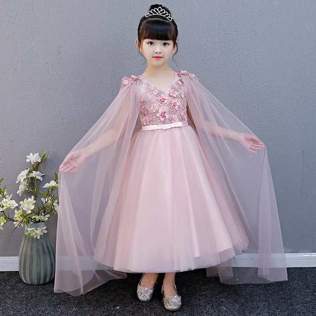 3-15Years Kids Girls Wedding Birthday Tulle Lace Flower Long Dress Elegant Princess Party Pageant Formal Gown for Teens Children