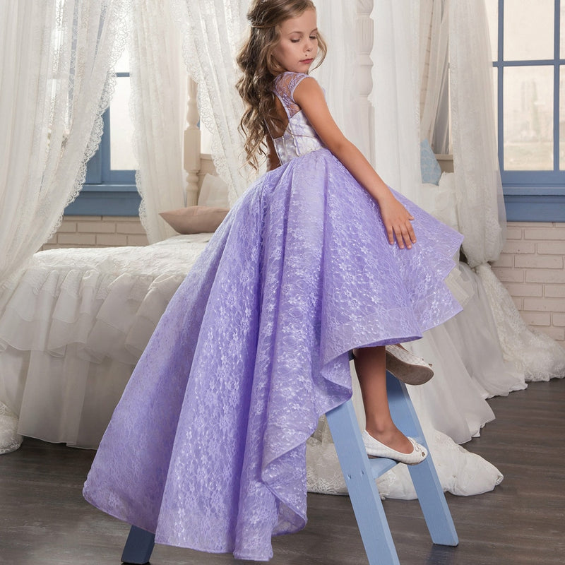 Kiss Wedding Dresses Toddler Girl Dresses Fall 2017 Winter Girl Dress / Autumn Baby Girl Princess Purple Wedding Dress