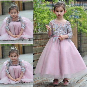 SexeMara Lace Applique Flower Girl Dresses Three Quarter Sleeve O-neck A-line Girls Pageant Gowns Party Dress for Wedding