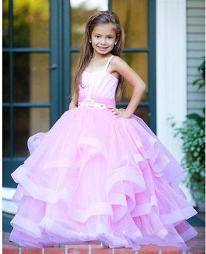 SexeMara Lavender Girls Pageant Gowns Tulle Tiered Lace Up Back Flower Girl Dresses For Wedding Baby Formal Party Birthday Gown
