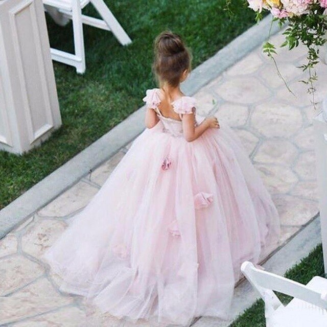 Custom New Arrival Kids Pink Ball Gown Flower Girl Dress For Wedding Party Holiday Birthday First Communion Sweet Girls