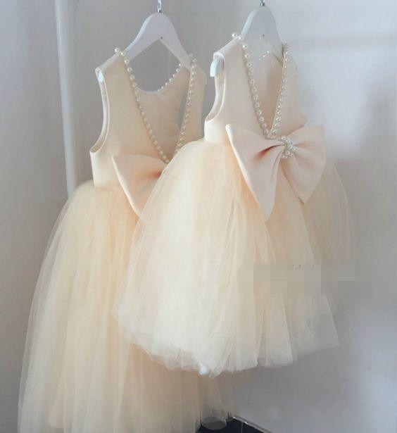 New Champagne Puffy Tulle Pearls Girls Dresses with Bow Flower Girl Dress for Wedding Girls Pageant Gown Size 2-14Y