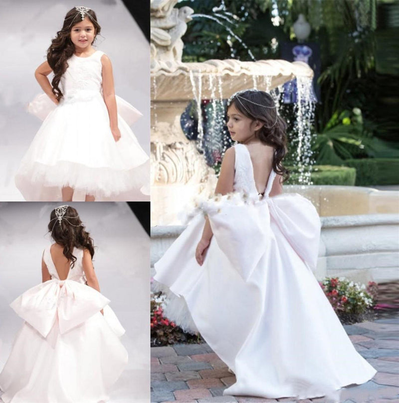White Open Back Big Bow Girls Pageant Gowns High Low Flower Girl Dresses For Wedding Jewel Children Communion Dress
