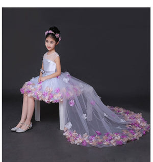 Fashion 2018 New Brief Flower Girl Dresses for Wedding Princess Dress Long Tails with Tulle Appliques Party Ball Gown D39