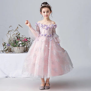 Hot-sales New Children Girls Tulle Flowers Shoulderless Ball Gowns Elegant Princess Prom Dress Teen Birthday Party Wedding Dress
