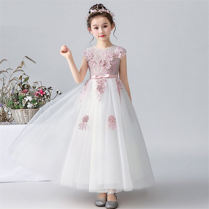 2019Children Girls Elegant Appliques Flowers Birthday Wedding Party Wear Princess Mesh Dress Kids Teens Noble Host Costume Dress