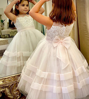New Coming Tulle Flower Girl Dress for Wedding Little Girls Clothes with Bow Holy First Communion Gown Custom Made Cheap Price