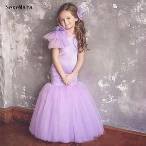 Lilac Mermaid Flower Girls Dresses For Wedding Hand Made Flowers Satin Tulle Birthday Dress Girls Gowns for Special Occasion