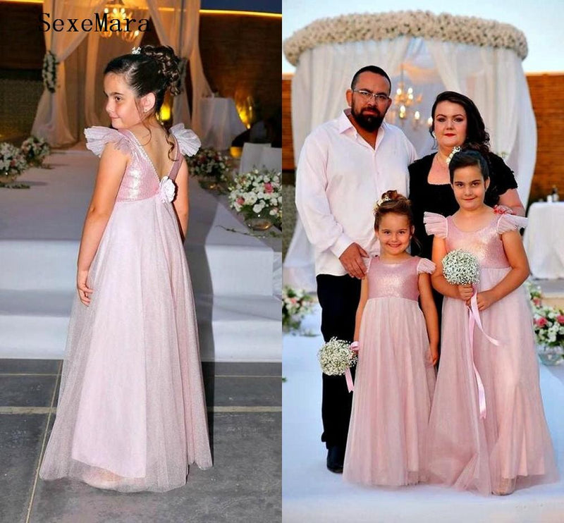 Pink Bling Bling Sequins Top Flower Girls Dresses for Wedding Party O Neck A Line Backless Kids Girls Pageant Gown Size 2-16Y