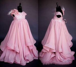 Real Picture Princess Pink Flower Girl Dresses Lovely Ball Gown Wedding Party Girls Dresses 2-16Y