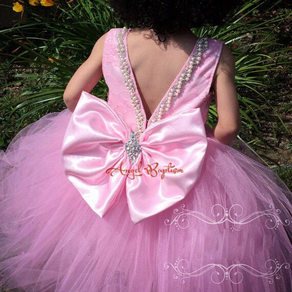 Bling Beading Pearls Crystals lovely Pink Lace flower girl dresses with Big bow wedding birthday parties Puffy tulle ball gowns
