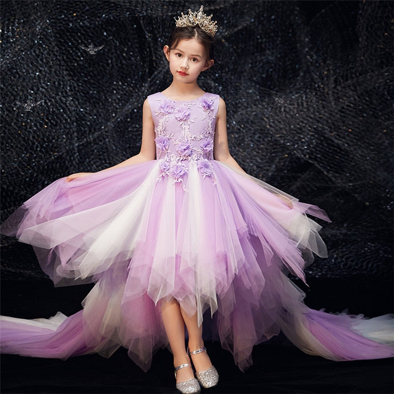 2019 Luxury New Model Show Catwalk Host Piano Costume Long Tail Dress Children Girls Birthday Wedding Party Princess Prom Dress