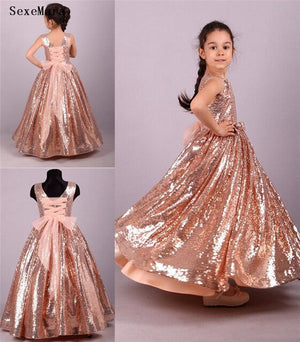 Sparkly Rose Gold Sequins Flower Girls Dresses For Wedding Lace up Bows Princess For Kids Little Girl Pageant Dress Custom Made