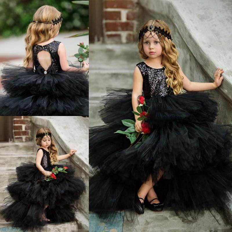 SexeMara Cute Black Tiered Girls Pageant Gowns Sequined Top Tulle Ball Gown Flower Girl Dresses For Wedding Open Back