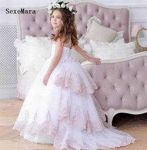 New Princess Pageant Gown Flower Girl Dress for Wedding Party Birthday Prom Dress with Detachable Train Custom Made Size