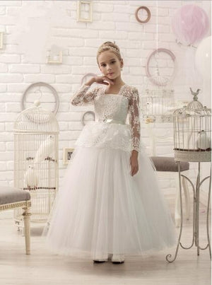 Long White Flower Girl Dresses for Weddings Pageant Party Ball Gown Birthday First Communion Dresses for Girls 2017 Custom