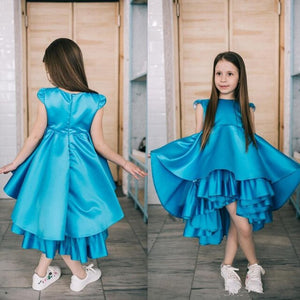 High Quality Tiered Satin Pageant Gown For Princess Tea-Length Zipper Back New Flower Girl Dress For Wedding Girls Birthday Gown