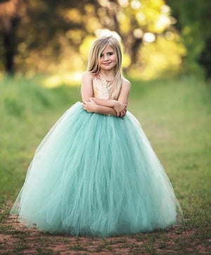 2018 Gold Sequined Flower Girls Dresses For Weddings Jewel Tulle Girls Pageant Dresses Hollow Back First Communion Dress