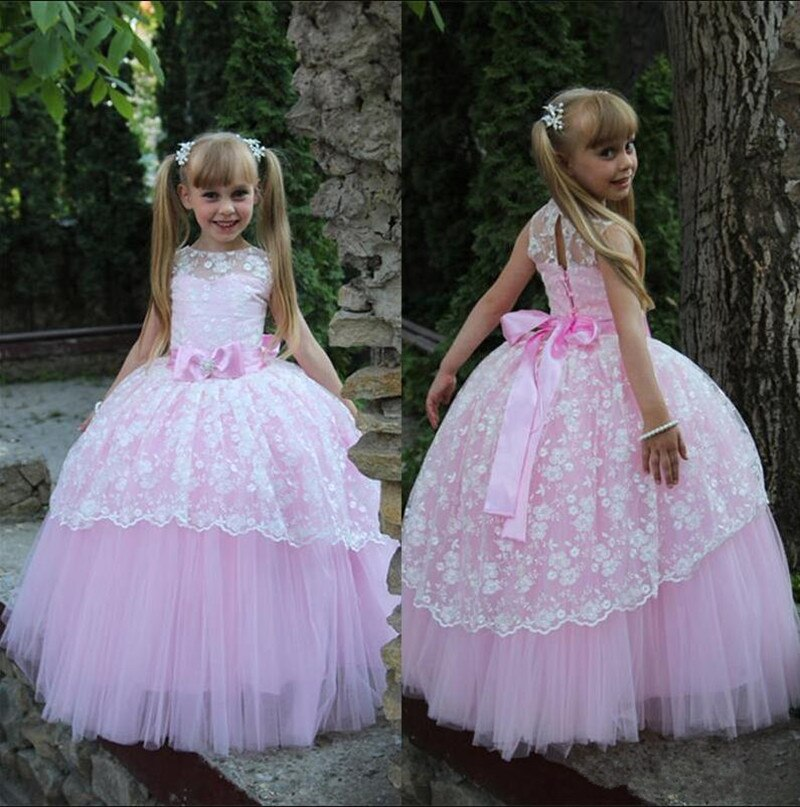 Cute Princess Dress with Bow Lace Sleeveless Flower Girl Dress For Wedding Custom Made Ball Gown Ball Gowns For 2-14 Y Vestidos