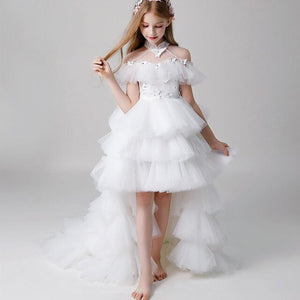 Elegant Princess Dress Tiered Tulle High Low Flower Girl Dress For Wedding Custom Made Kids Pageant Gowns High Neck