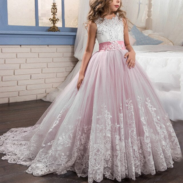 Flower Girls Wedding Bridesmaid Dresses for Kids First Communication Party Princess Graduation Dresses Kids Long Evening Dresses