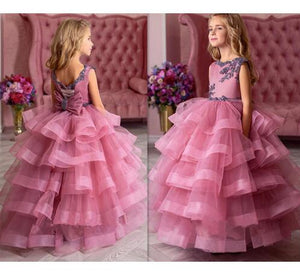 New Fluffy Pageant Dresses for Girls Pink O-neck Ball Gown Lace Appliques Flower Girl Dresses for Weddings Kids Birthday Gown