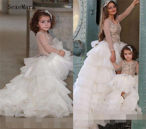 New Arrival Long Sleeves Baby Girls Pageant Gown Jewel Neck Beading Sequins Layered Tulle Flower Girls Dress for Wedding Party