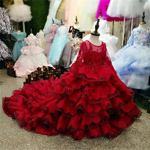 Red Lace Tiered Girls Clothes Long Sleeves Kids Formal Wear Jewel Applique Flower Girl Dresses for Wedding with Long Train