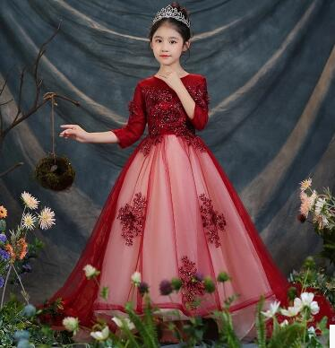 2018 New Princess Flower Girl Dress for Wedding Party Costume O Neck Children Dresses Floral Girls Pagenat Dress Prom Gown D77