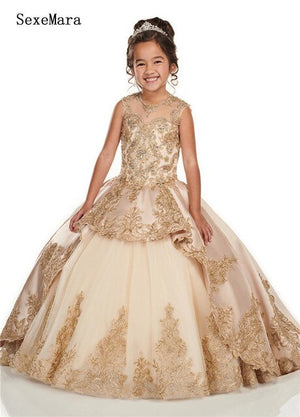 Champagne Satin Applique Lace Flower Girls Dresses For Wedding Sheer Neck Keyhole Back Birthday Dress Little Girls Pageant Gown