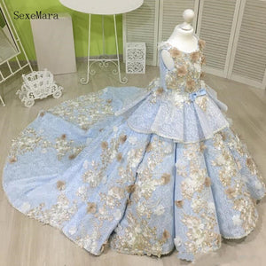 Sky Blue Ball Gown Girls Pageant Dresses With Champagne Flowers Tiered Flower Girl Gowns For Wedding Kids Clothes with Train