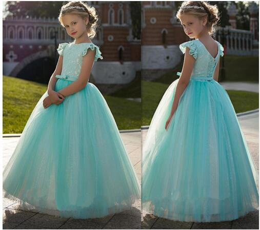 Vintage Sky Blue Lace Flower Girl Dress For Kids Party Lace Up Back Princess Gowns For Cute Girl Robe De Soiree