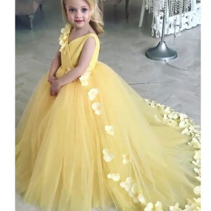 Kids Custom Yellow Flower Girl Dresses For Wedding Handmade Flowers First Communion Princess Gowns Party Christening Dress