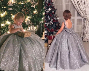 Pageant Kids Silver Sequin Ball Gown Princess Flower Girls Dresses Backless Girl's First Communion Party Birthday Dress