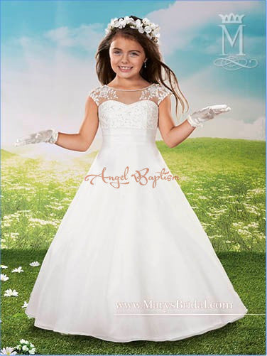 Vintage elegant White A-line Flower Girl Dresses kids holy the first communion gown for country wedding and party