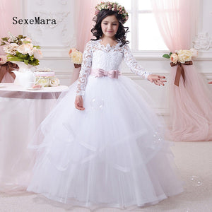 Beautiful White Lace Long Sleeves Flower Girls Dresses for Wedding with Sash Ball Gown Girls First Communion Dresses Size 2-16Y