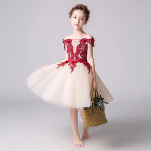 Children's Piano Performance Dress Princess dresses Flower Boy Wedding Wedding Show Pengpeng Yarn Long Girl Little Host Dress